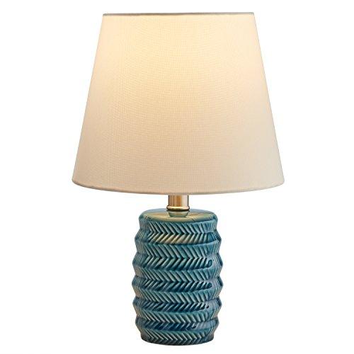 Rivet Lámpara de mesa moderna de cerámica, 15.5', Azul