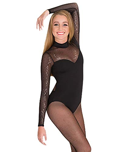 Girls Performance Twinkle Mesh Mock Neck Long Sleeve Leotard,TW321NUDM,Nude,Medium