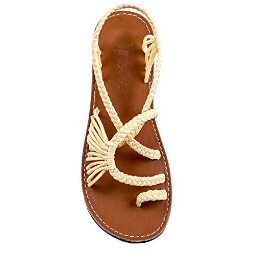 (Plaka Flat Summer Sandals for Women Sweet Ivory 6 Palm Leaf)