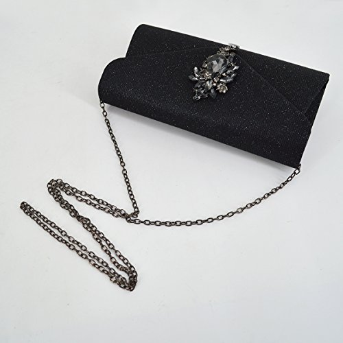 Fashion Black Rhinestone Clutch Dinner Pendant Flap with Meliya Cocktail Bridal Evening Bag Glitter Handbag Women Purse Wedding Party Sparkling FfxUwd