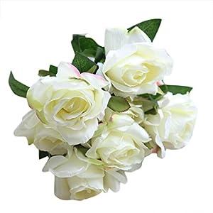 NXDA Artificial Flowers, 7 Rose Fake Silk Flowers Per Bunch for Home Floor Garden Office Wedding Decor (White) 79