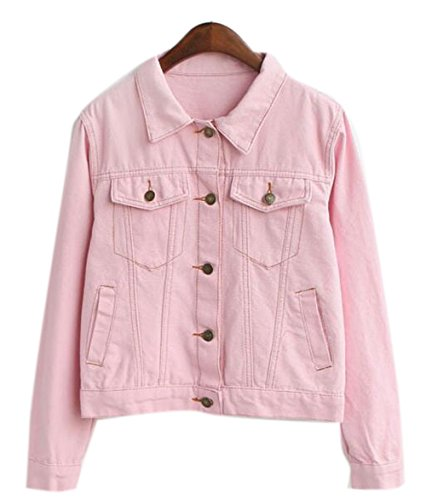 womens-cool-slim-fit-outwear-short-polo-denim-jacket-jean-coat-with-pockett-pink