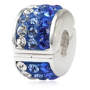 スパークリングクリップチャーム 925スターリングシルバー クリップ/スペーサー/ロックストッパービーズ ファッションチャームブレスレット用 ブルー NIIHAO2463  ブルー B0745SCYX6