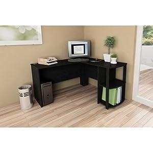 L Shaped Desk With Side Storage, Black Ebony Ash