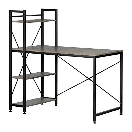 - South Shore 12113 Evane Industrial Desk with Bookcase Oak Camel