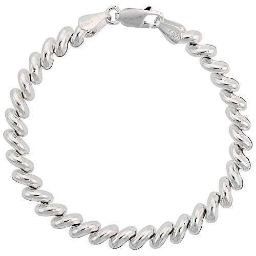 Sterling Silver San Marco Bracelet - Sterling Silver Baby San Marco Necklace Italian 1/4 inch wide, 16 inch long