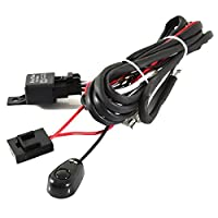 iJDMTOY (1) Universal Fit Relay Harness Wire Kit with LED Light ON/OFF Switch For Fog Lights, Driving Lights, Xenon Headlight Lighting Kit or LED Work Light, etc