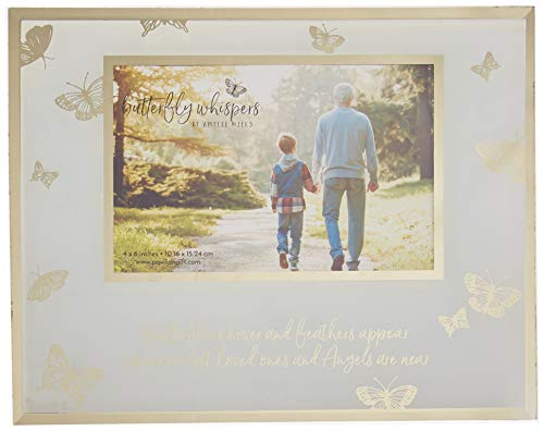 Pavilion Gift Company Pavilion-Butterflies Hover and Feathers Appear Whenever Lost Loved Ones and Angels are Near-Gold & White 4x6 in Memory Picture Frame, ()