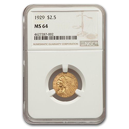 1929 $2.50 Indian Gold Quarter Eagle MS-64 NGC $2.50 MS-64 NGC