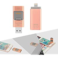 iPhone Flash Drive 32GB, Digfuns iFlashDevice USB 3.0 & Lightning Dual Connector External Storage Memory Expansion for iPhone 7/Plus 5/5S/iPhone 6/6S/Plus/iPad /Mac/iPod Memory Rose Gold
