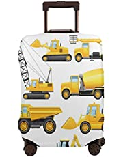 Travel Luggage Cover,Abstracts Of Construction Vehicles Machinery Trucks Bulldozer Crane Suitcase Protector
