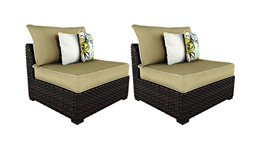 Ashley Furniture Signature Design - Spring Ridge Outdoor Armless Chair with Cushion - Set of 2 - Beige & Brown