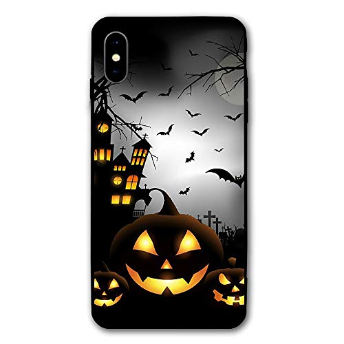 Happy Halloween Pumpkin Scream iPhone X Case, PC Anti-Slip Grip Hard Cover Slim Support Wireless Charging,Durable and Slim, Lightweight with Classic Design &, for Apple iPhone X (2017)