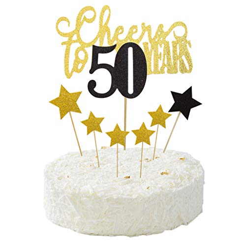 Cheers to 50 Years Cake Topper for the 50th Birthday,Wedding Anniversary,Frendship Celebration Party Decorations Star Cake Picks