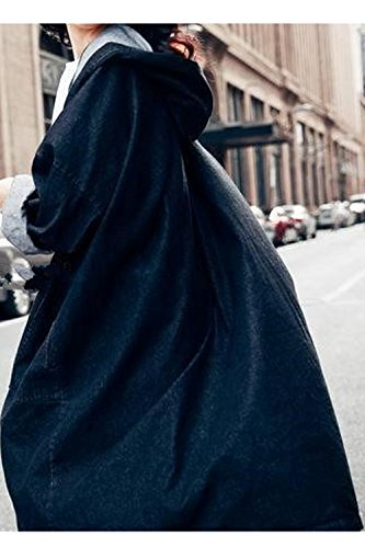 La Mujer Otoño Casual Manga Larga Larga Con Capucha Chaqueta Denim Outwear Chaqueta Estilo Punk BF Black