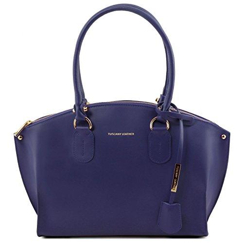 Tuscany Leather Diana Bolso shopping en piel Ruga Marrón topo oscuro Bolsos con asas Azul oscuro