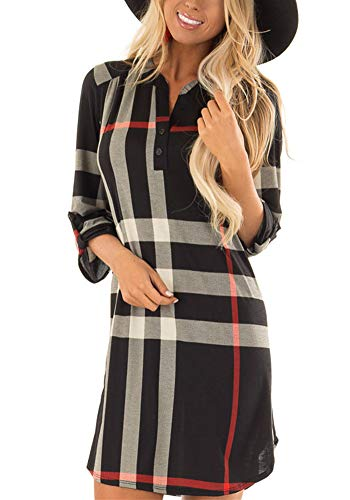 Poulax Women's 3/4 Roll Sleeve Botton V Neck Plaid Tunic Tops Loose Long Knitted Sweater Tunic Dress with Pockets,Black,M (Boots Sweater Dresses)