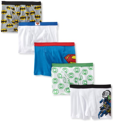 Handcraft Little Boys' Justice League  Boxer Brief (Pack of 5), Assorted, 4