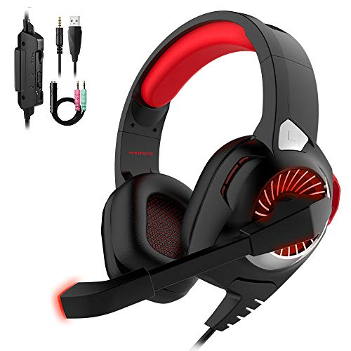 Gaming Headset Xbox One Headset with 7.1 Surround Sound Stereo,PHOINIKAS H9 PS4 Headset,Over Ear Headphones with Noise Isolating Mic, LED Light, Volume Control for Laptop, PC, Tablet Red