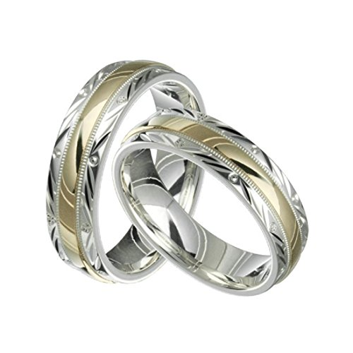 Alain Raphael 2 Tone Sterling Silver and 10k Yellow Gold 6 MM Wide Wedding Band Ring Set Him and Her