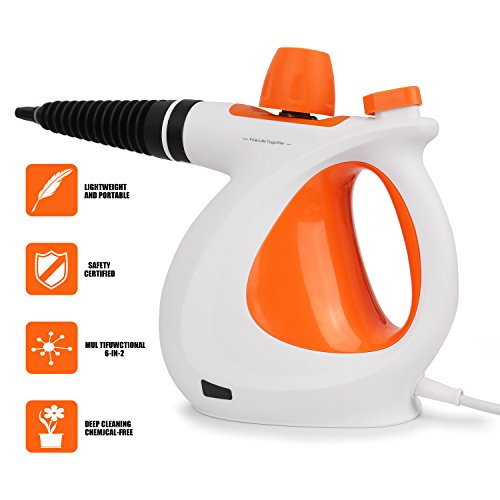 Handheld Pressurized 9 in 1 Steam Cleaner with 9-Piece Accessory Set for Bathroom, Kitchen, Surfaces, Carpet, Car Seats and Floor Steamer