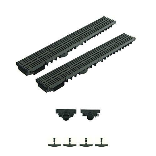 NEUHEIT Entwässerungsrinne Terrassenrinne Kunststoff Rost Schwarz komplett SET (2m + 2 Stirnwände)
