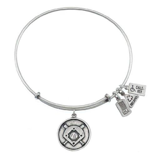 Vent et Fire Baseball Diamant Finition argent Charm Bracelet