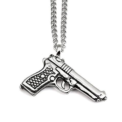 NYUK New Arrival Mens Trend Hip Hop Rap Pistol Gun Pendant Necklace(Silver)