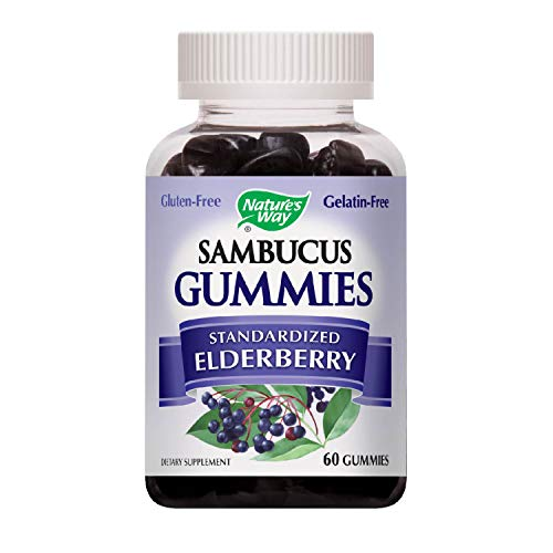 Nature's Way Sambucus Elderberry Gummies, Herbal Supplements with Vitamin C and Zinc, Gluten Free, Vegetarian, 60 Gummies (Packaging May Vary) ()