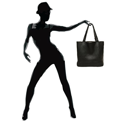 tressé CASPAR sac réversible shopping porté femme TS1059 2 sac Noir épaule Platine 1 pour en Grand XXL rBqtEBw