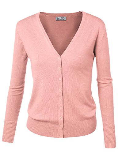 BIADANI Women Button Down Long Sleeve Soft V-Neck Cardigan Sweater Baby Pink Medium