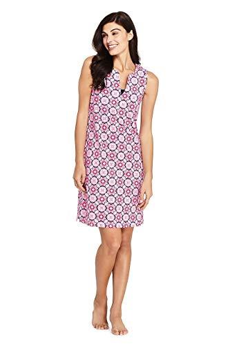 Lands' End Women's Cotton Jersey Sleeveless Tunic Dress Swim Cover-up Print