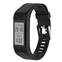 Watch Bands Replacement, ABC Replacement Silicone Band Strap Wristband Bracelet for Garmin vivosmart HR+ with Tools (Black)
