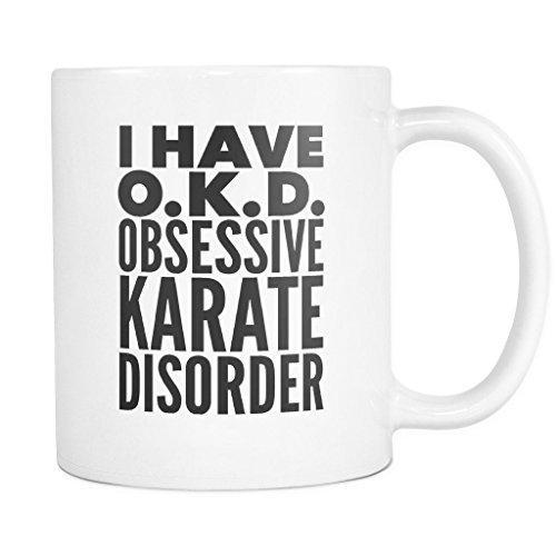 ArtsyMod OKD OBSESSIVE KARATE DISORDER Typography Premium Coffee Mug, PERFECT FUN GIFT for the Karate Lover! Attractive Durable White Ceramic Mug (11oz., Black Print)