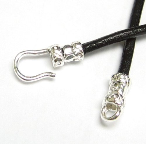Dreambell 2 Sets .925 Sterling Silver Crimp Bead End Cap Hook & Eye Clasp for 2mm Leather Bead Cord/Findings/Bright