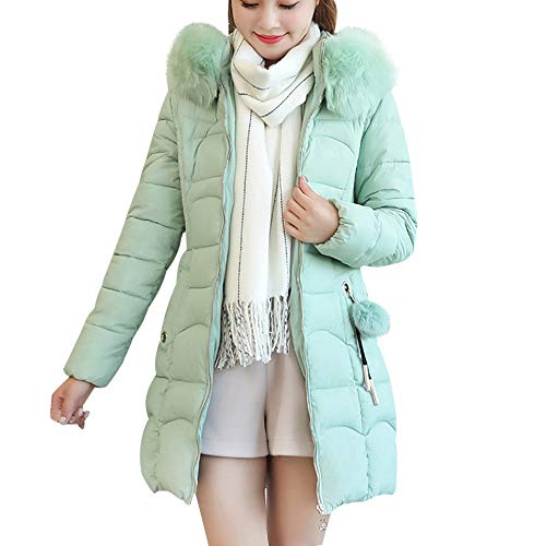 Orangeskycn Womens Winter Long Down Parka Fur Hooded Coat, Ladies Fashion Zipper Quilted Overcoat