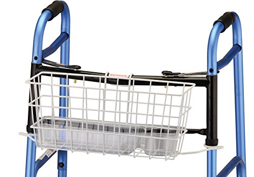 Basket Walker Medline - NOVA Folding Walker Basket with Cup Holder Bottom Liner Insert, Universal Fit, Easy On and Off