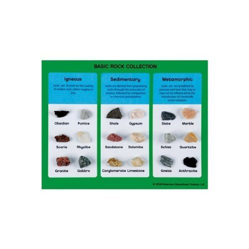 American Educational Products BASIC ROCK COLLECTION - IGNEOUS, SEDIMENTARY,METAMORPHIC 18 MOUNTED - Igneous Rock Sedimentary