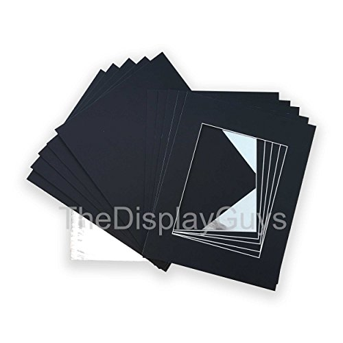The Display Guys, Pack of 10 Black Pre-Cut Picture Mat 8x10 for 5x7 Inches Photo White Core Bevel Cut Mattes Sets+ Backing Board + Clear Plastic Bags (10pcs Black 8x10 Complete Set)