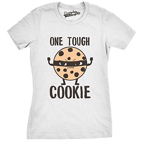5044af4d Womens Tough Cookie Funny Fitness Food Tshirt For Ladies (White) -3XL