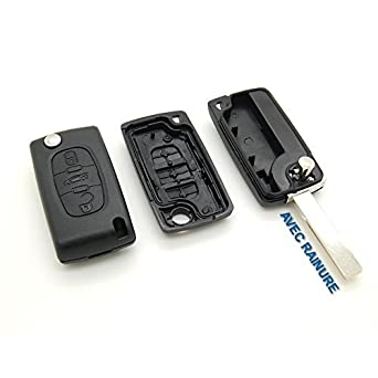 Citroën - Carcasa con mando a distancia para llave compatible de Citroën, con muesca