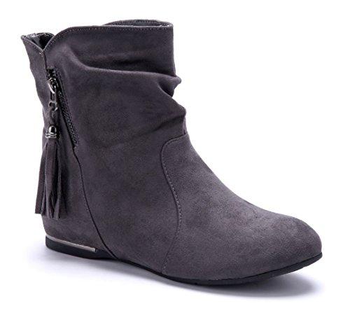 Schuhtempel24 Damen Schuhe Keilstiefeletten Stiefel Stiefeletten Boots Keilabsatz Reißverschluss/Schlupf 4 cm Grau