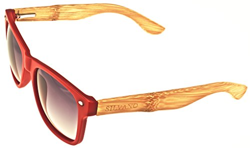 Shades Silvano Sunglasses Composite Red Framed Lenses With Grey Fade Wood - Silvano Wood Sunglasses