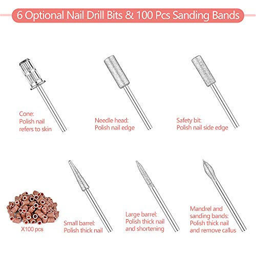 Professional Electric Nail Drill 20000 RPM Efile Buffer Manicure Grinder Tools for Acrylic Nails with Nail Drill Bits Set and Sanding Bands (Pink)