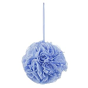 Mega Crafts Light Blue Artificial Rose Pomander Kissing Ball 10'' | Hanging Ribbon Fabric Flower Décor | Wedding Receptions, Party Decorations, Backdrop Wall, Event Planning, Birthdays & Baby Showers 116