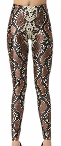 MLG Womens Print Snake Pencil Pant For Fall/Winter Leggings brown One Size