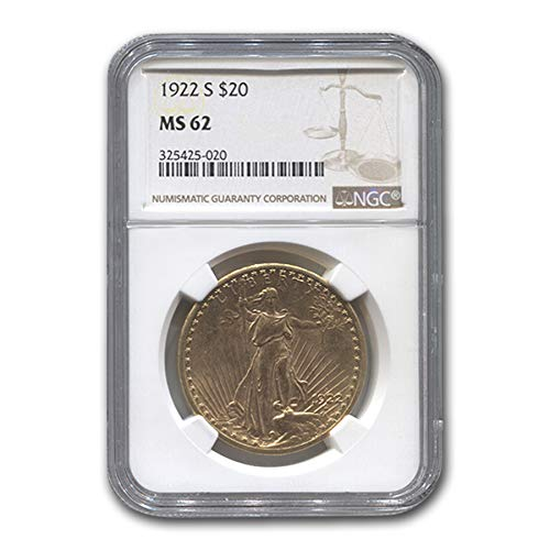 1922 S $20 St. Gaudens Gold Double Eagle MS-62 NGC G$20 MS-62 NGC