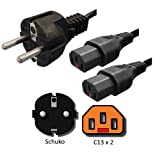 AC Power Cord Schuko CEE7 to 2x Locking C13 - 2 Meters, 10A, 240V, H05VV Cable - Iron Box Part # IBX-26268-2M