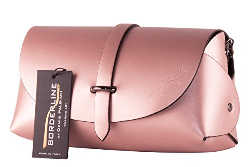 BORDERLINE - 100% Made in Italy - Embrague de Cuero Real - EVELINA G. Rosa Antiguo