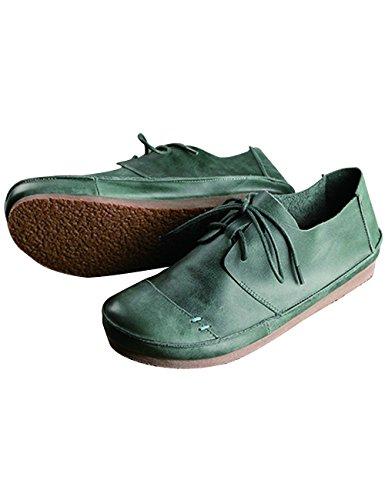 Zoulee Donna Punta Rotonda Nuovo Allacciatura In Pelle Scarpe Basse Stile 5 Verde